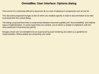 OmniaMea: User Interface: Options dialog