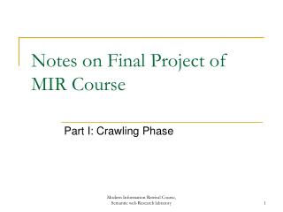 Notes on Final Project of MIR Course