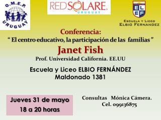 """Conferencia: """" El centro educativo, la participación de las  familias """""""