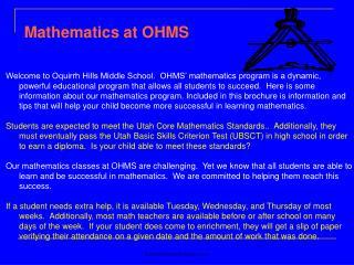 Mathematics at OHMS