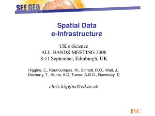 Spatial Data  e-Infrastructure