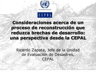 Ricardo Zapata, Jefe de la Unidad de Evaluación de Desastres, CEPAL