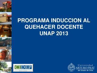 PROGRAMA INDUCCION AL QUEHACER DOCENTE  UNAP 2013