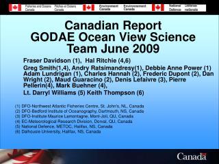 Canadian Report  GODAE Ocean View Science Team June 2009