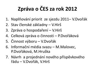 Zpráva o ČES za rok 2012