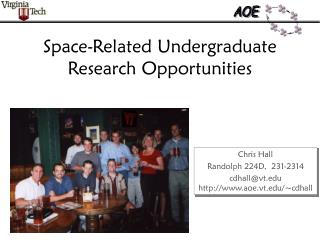 Space-Related Undergraduate Research Opportunities