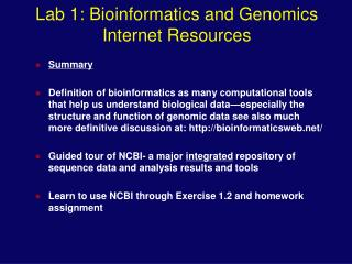Lab 1: Bioinformatics and Genomics Internet Resources