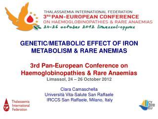 GENETIC/METABOLIC EFFECT OF IRON METABOLISM & RARE ANEMIAS