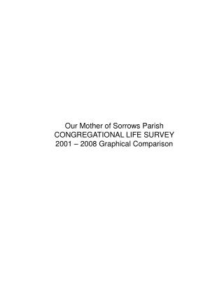 Our Mother of Sorrows Parish CONGREGATIONAL LIFE SURVEY 2001 – 2008 Graphical Comparison