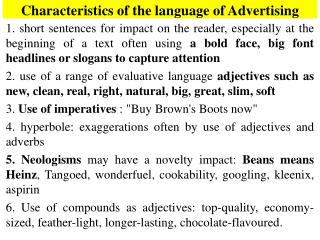 Characteristics of the language of Advertising