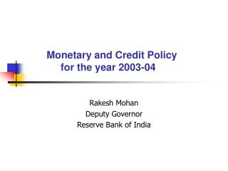 Monetary and Credit Policy for the year 2003-04