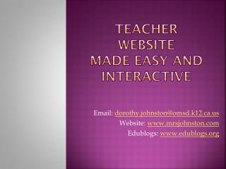 Teacher Website Made easy and interactive