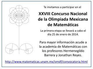 XXVIII Concurso Nacional de la Olimpiada Mexicana de Matemáticas