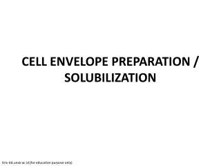CELL ENVELOPE PREPARATION / SOLUBILIZATION