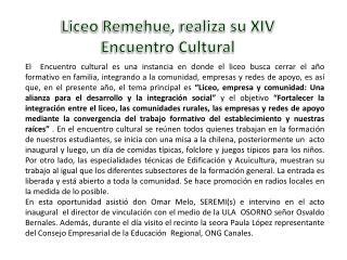 Liceo  Remehue , realiza su XIV  Encuentro Cultural