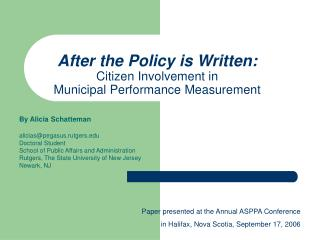 After the Policy is Written: Citizen Involvement in  Municipal Performance Measurement