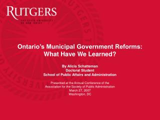 Ontario's Municipal Government Reforms:  What Have We Learned?