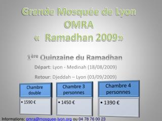 Départ : Lyon -  Medinah  (18/08/2009) Retour : Djeddah – Lyon (03/09/2009)