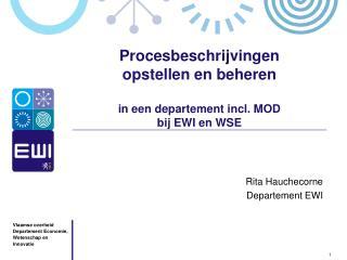 Procesbeschrijvingen  opstellen en beheren  in een departement incl. MOD bij EWI en WSE
