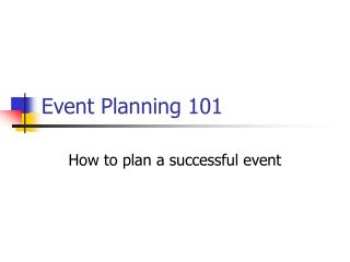 Event Planning 101