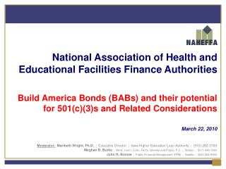 National Association of Health and Educational Facilities Finance Authorities  Build America Bonds BABs and their potent