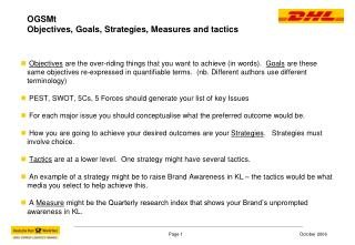 OGSMt  Objectives, Goals, Strategies, Measures and tactics