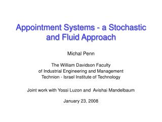 Appointment Systems - a Stochastic and Fluid Approach