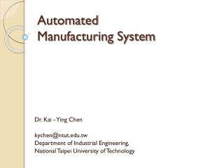 Automated   Manufacturing System