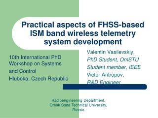 Practical aspects of FHSS-based ISM band wireless telemetry system development