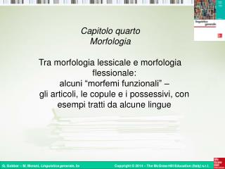 Capitolo quarto Morfologia