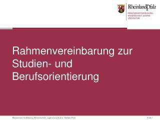 Rahmenvereinbarung zur Studien- und Berufsorientierung