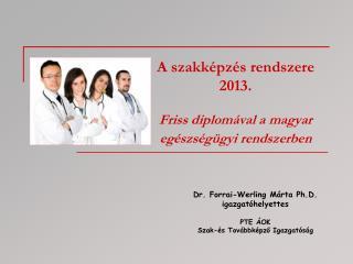 A szakképzés rendszere  2013. Friss diplomával a magyar egészségügyi rendszerben