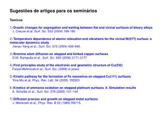 Sugestões de artigos para os seminários