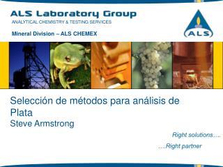 Selección  de métodos para análisis de Plata