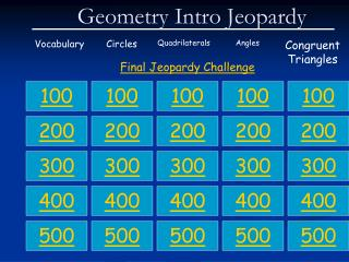 Geometry Intro Jeopardy