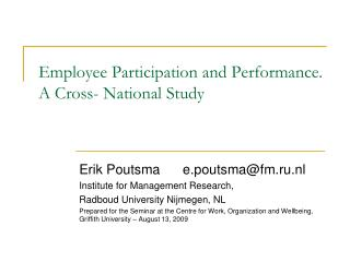 Employee Participation and Performance. A Cross- National Study