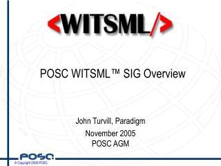 POSC WITSML� SIG Overview