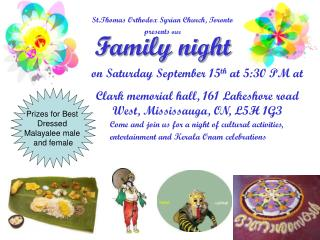 St.Thomas Orthodox Syrian Church, Toronto  presents  our Family night