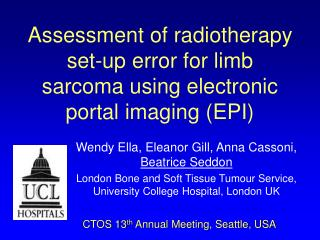 Assessment of radiotherapy set-up error for limb sarcoma using electronic portal imaging (EPI)