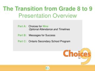Part A:    Choices for  Nine Optional Attendance and Timelines Part B:  Messages for Success