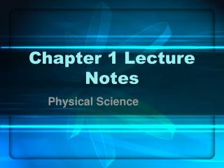 Chapter 1 Lecture Notes
