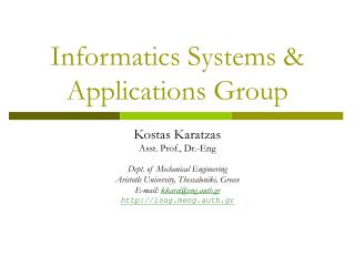 Informatics Systems & Applications Group