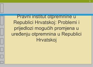 Pravni institut otpremnine u Republici Hrvatskoj