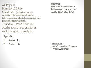 Agenda Warm Up Finish Lab
