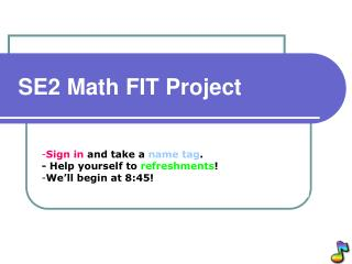 SE2 Math FIT Project