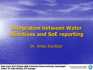 Integration between Water Directives and SoE reporting