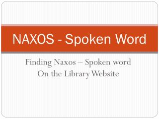 NAXOS - Spoken Word