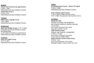 MONDAY Citizens Advice Bureau (by appointment) 9.30am-1.30pm