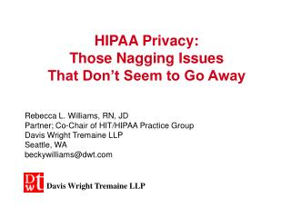 HIPAA Privacy: Those Nagging Issues That Don't Seem to Go Away