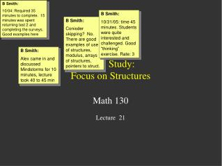 Case Study: Focus on Structures